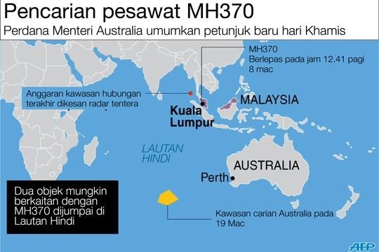 Imej 24 meter tenggelam timbul di permukaan air, mungkin serpihan pesawat, kata Australia
