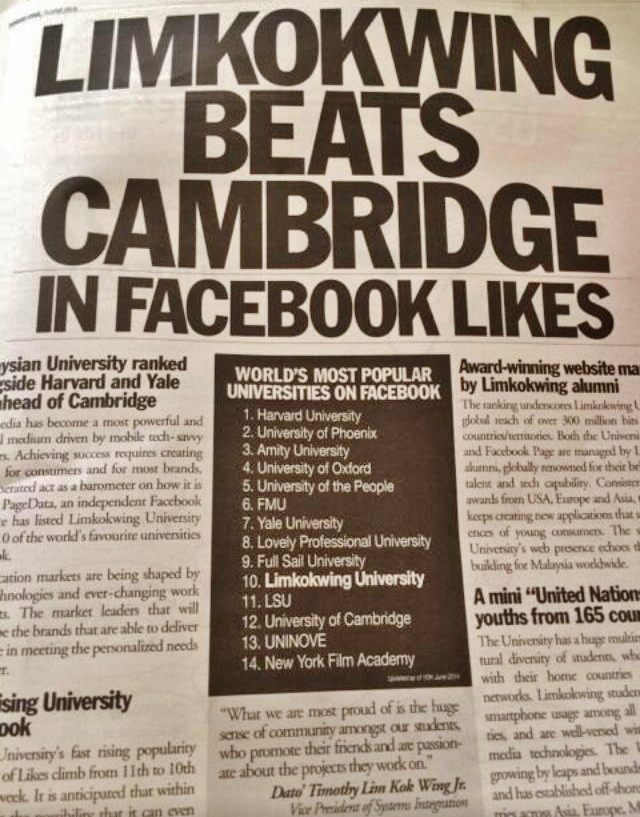 Finally, Malaysian University Top 10 In The World, Beats Cambridge In FaceBook Likes