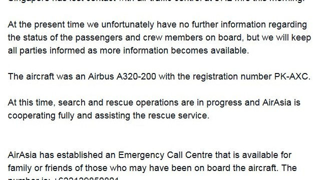 AirAsia Indonesia confirmed Flight QZ8501 has lost contact with air traffic control at 07:24hrs this morning