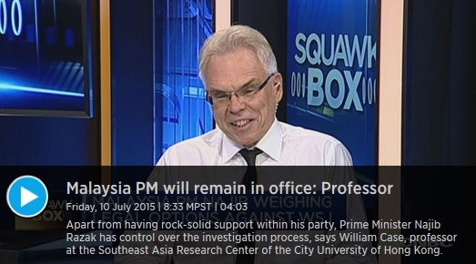 (CNBC) Professor: Najib has direct control over the investigation process as well as a long history of surviving scandals