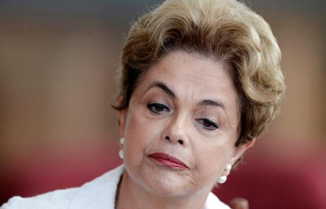 Suspended Brazilian President Dilma Rousseff attends a news conference with foreign media in Brasilia, <a href=